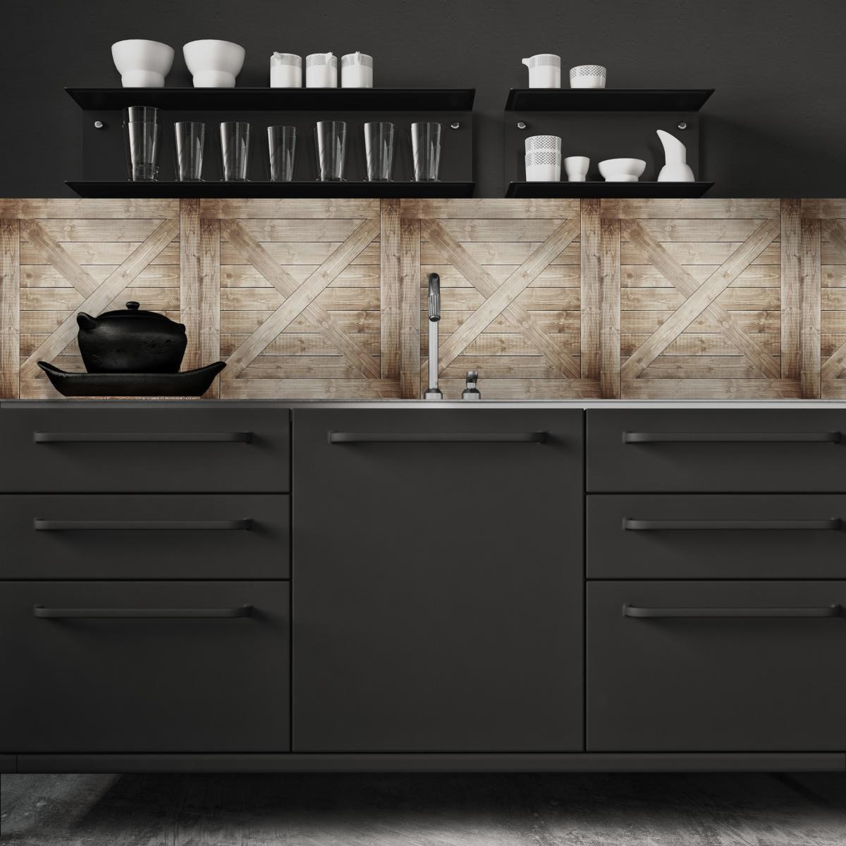 cr dence adh sive effet de mati re caisse en bois. Black Bedroom Furniture Sets. Home Design Ideas