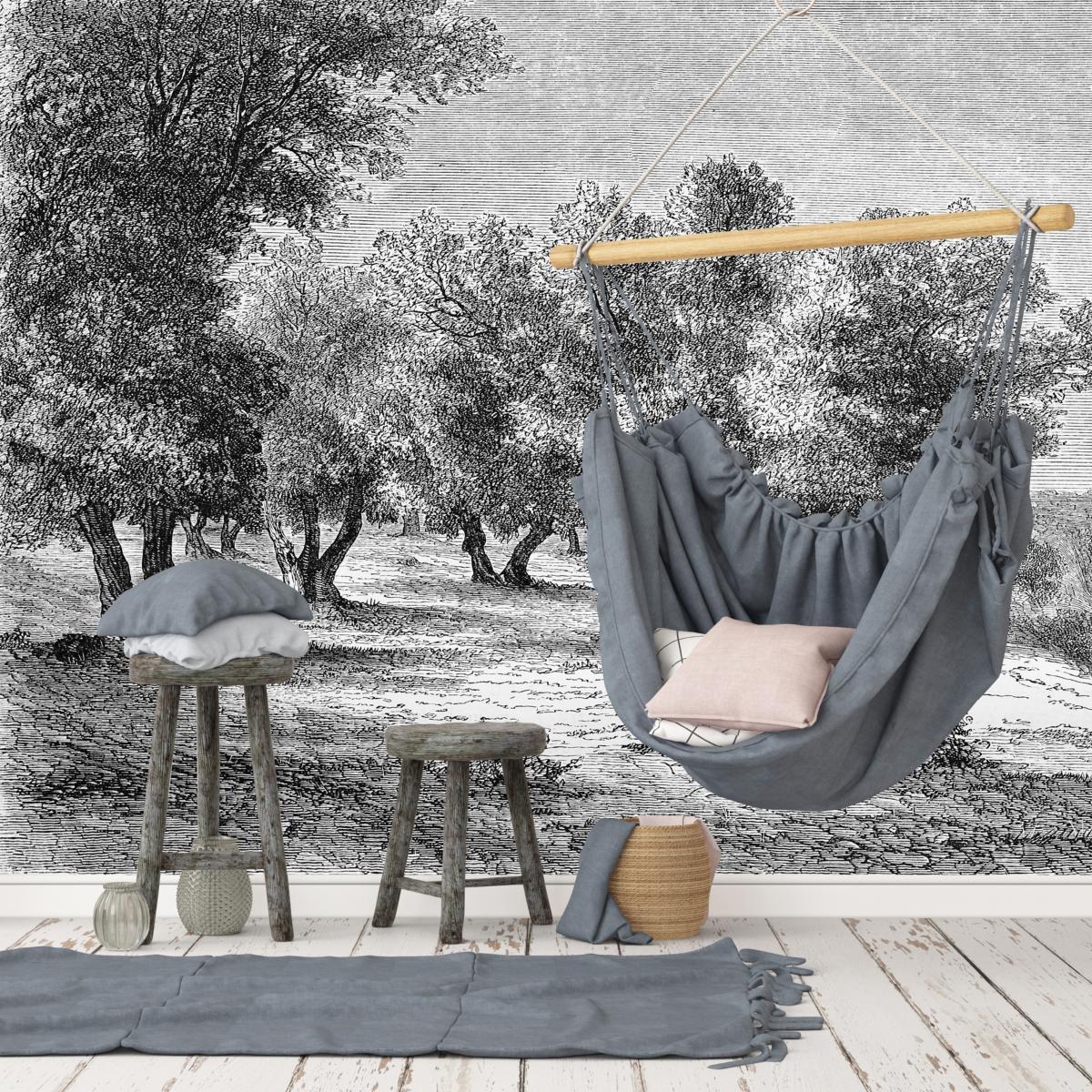 Papier Peint Style Atelier papier peint panoramique gravure - les oliviers
