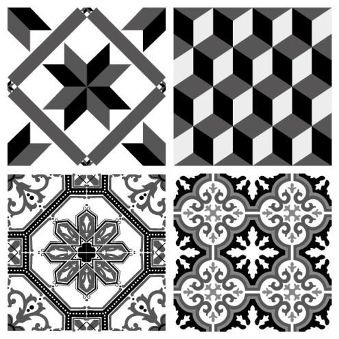 sticker carreaux de ciment ginette noir. Black Bedroom Furniture Sets. Home Design Ideas