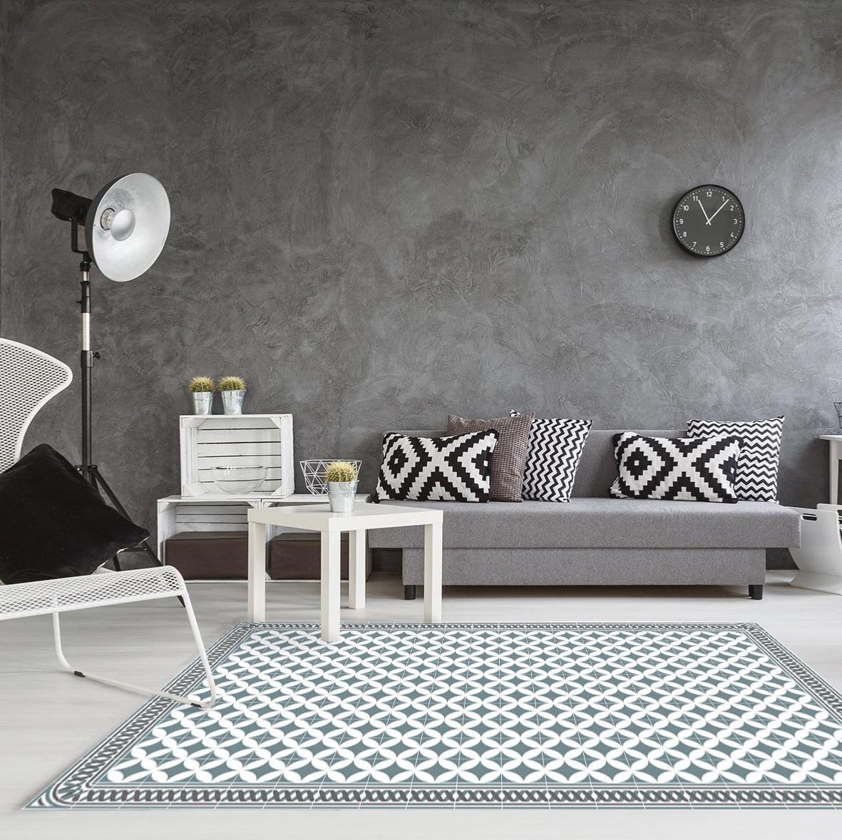 tapis vinyle carreaux de ciment louison bleu gris. Black Bedroom Furniture Sets. Home Design Ideas