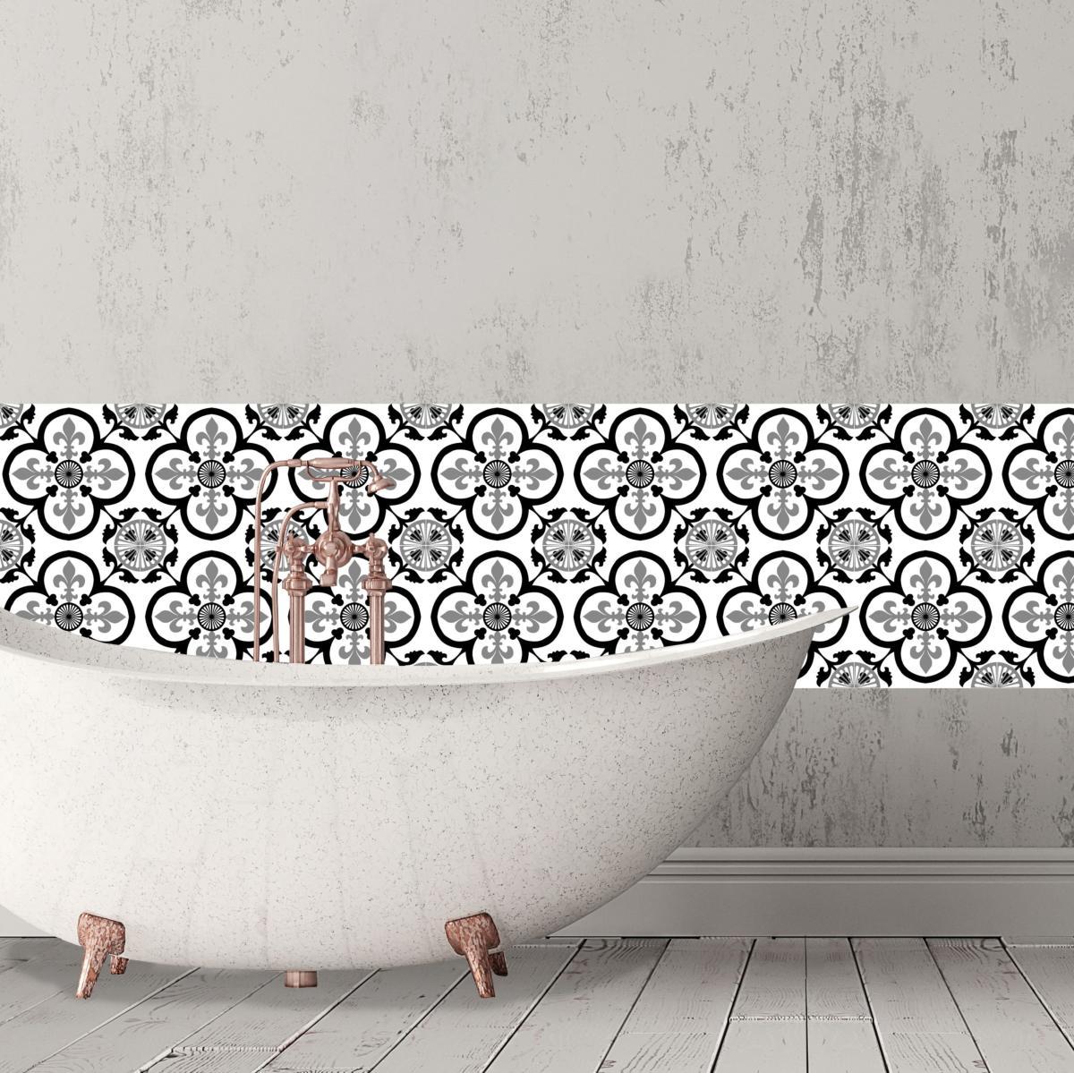 cr dence adh sive carreaux de ciment garance noir. Black Bedroom Furniture Sets. Home Design Ideas