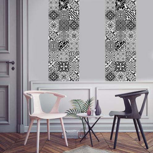 papier peint carreaux de ciment madeleine. Black Bedroom Furniture Sets. Home Design Ideas
