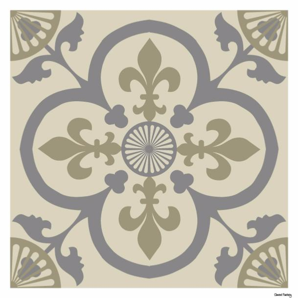 Sticker carreaux de ciment garance beige for Stickers imitation carreaux de ciment