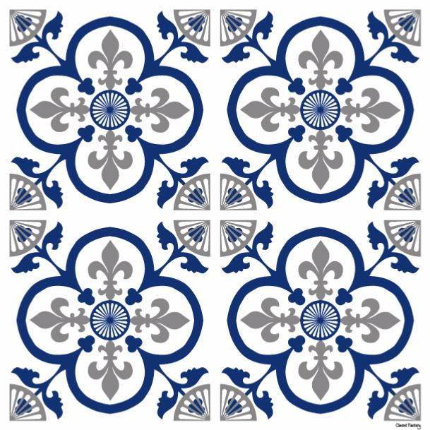 Sticker carreaux de ciment garance bleu - Stickers carreaux de ciment ...