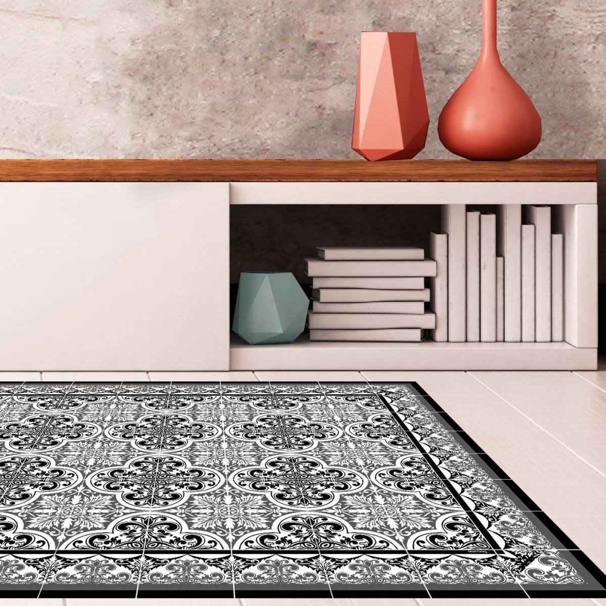 tapis vinyle carreaux de ciment s raphine noir 60x80cm. Black Bedroom Furniture Sets. Home Design Ideas