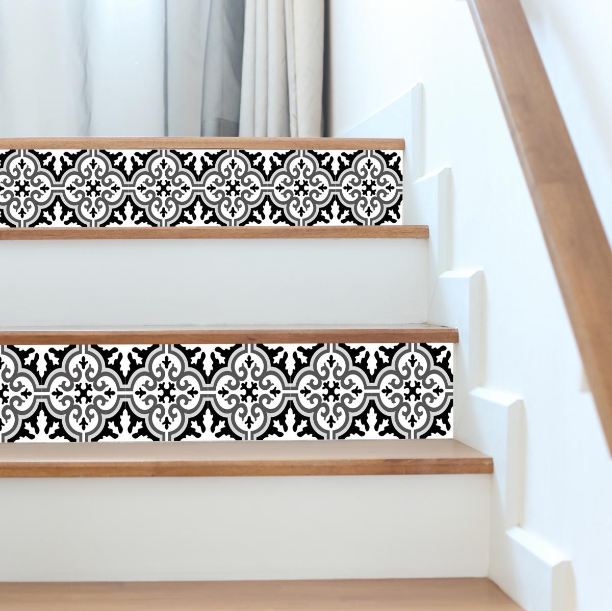 Contremarches carreaux de ciment simone noir 01 - Escalier carreaux de ciment ...
