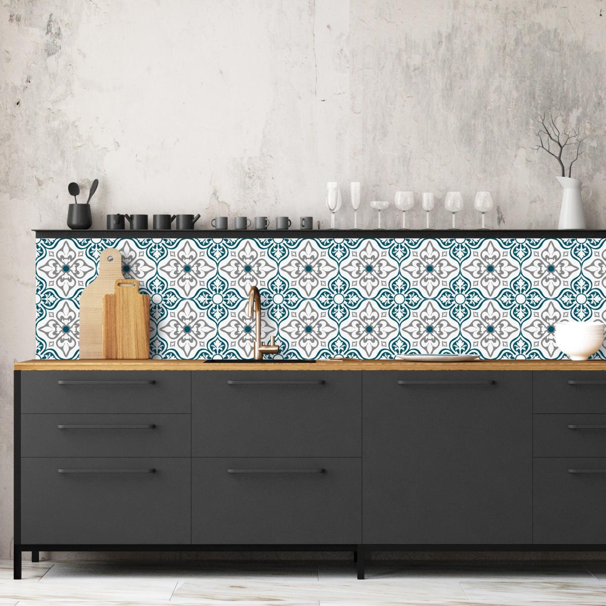 cr dence adh sive carreaux de ciment jos phine bleu. Black Bedroom Furniture Sets. Home Design Ideas