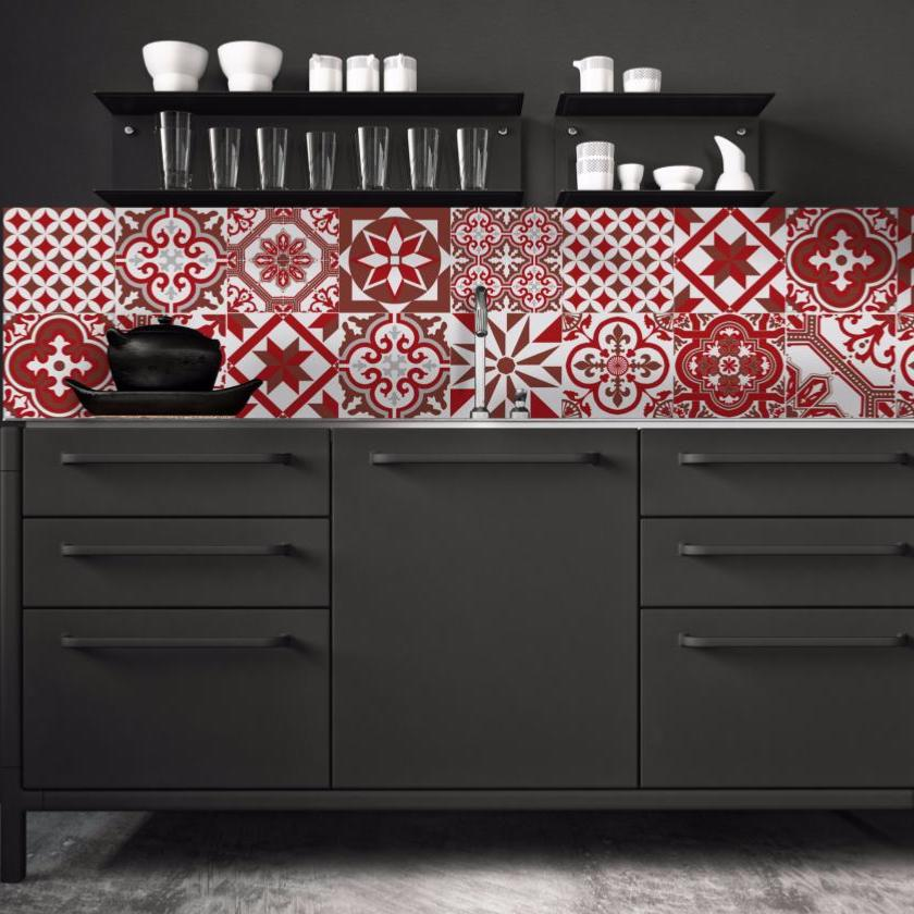 cr dence adh sive carreaux de ciment ginette rouge. Black Bedroom Furniture Sets. Home Design Ideas