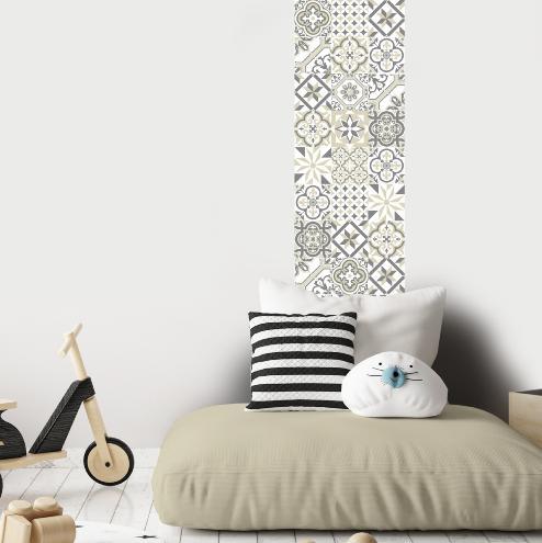 papier peint carreaux de ciment ginette beige l. Black Bedroom Furniture Sets. Home Design Ideas