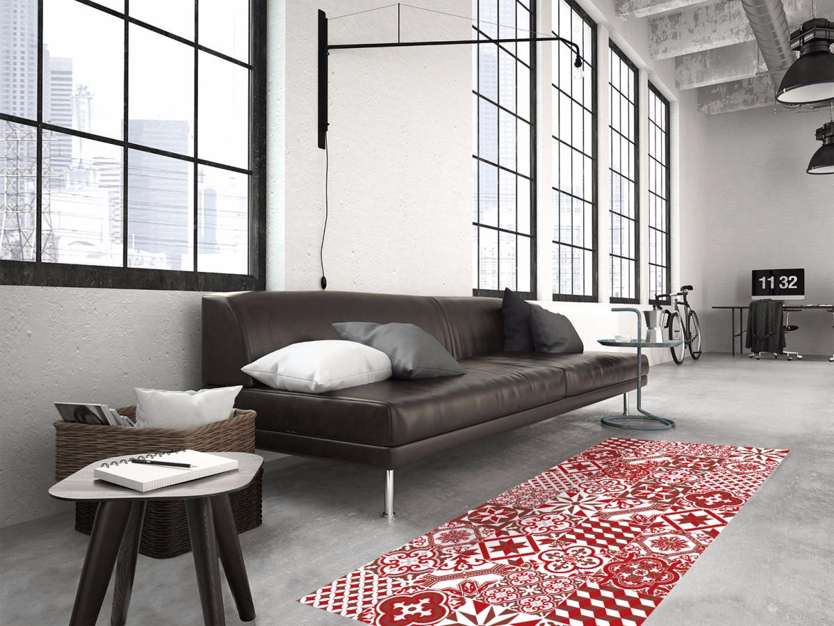 tapis vinyle carreaux de ciment ginette rouge. Black Bedroom Furniture Sets. Home Design Ideas