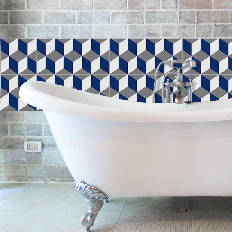 cr dence adh sive carreaux de ciment eug nie bleu. Black Bedroom Furniture Sets. Home Design Ideas