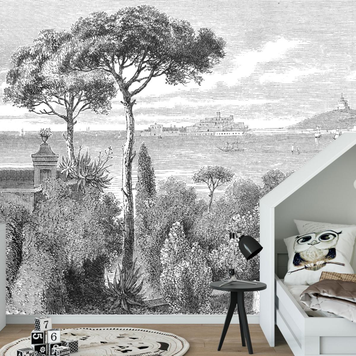 Papier Peint Noir Et Blanc Graphique papier peint panoramique gravure - sicile