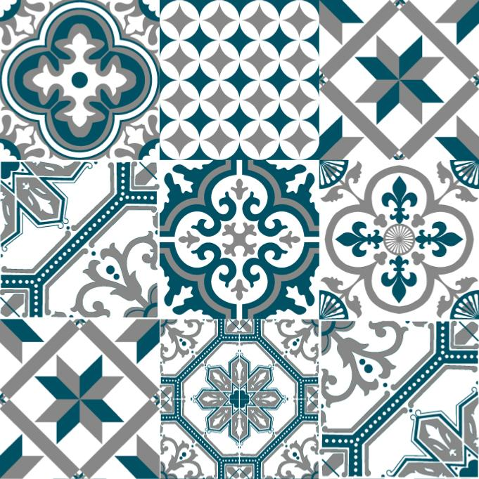 papier peint carreaux de ciment ginette bleu canard. Black Bedroom Furniture Sets. Home Design Ideas
