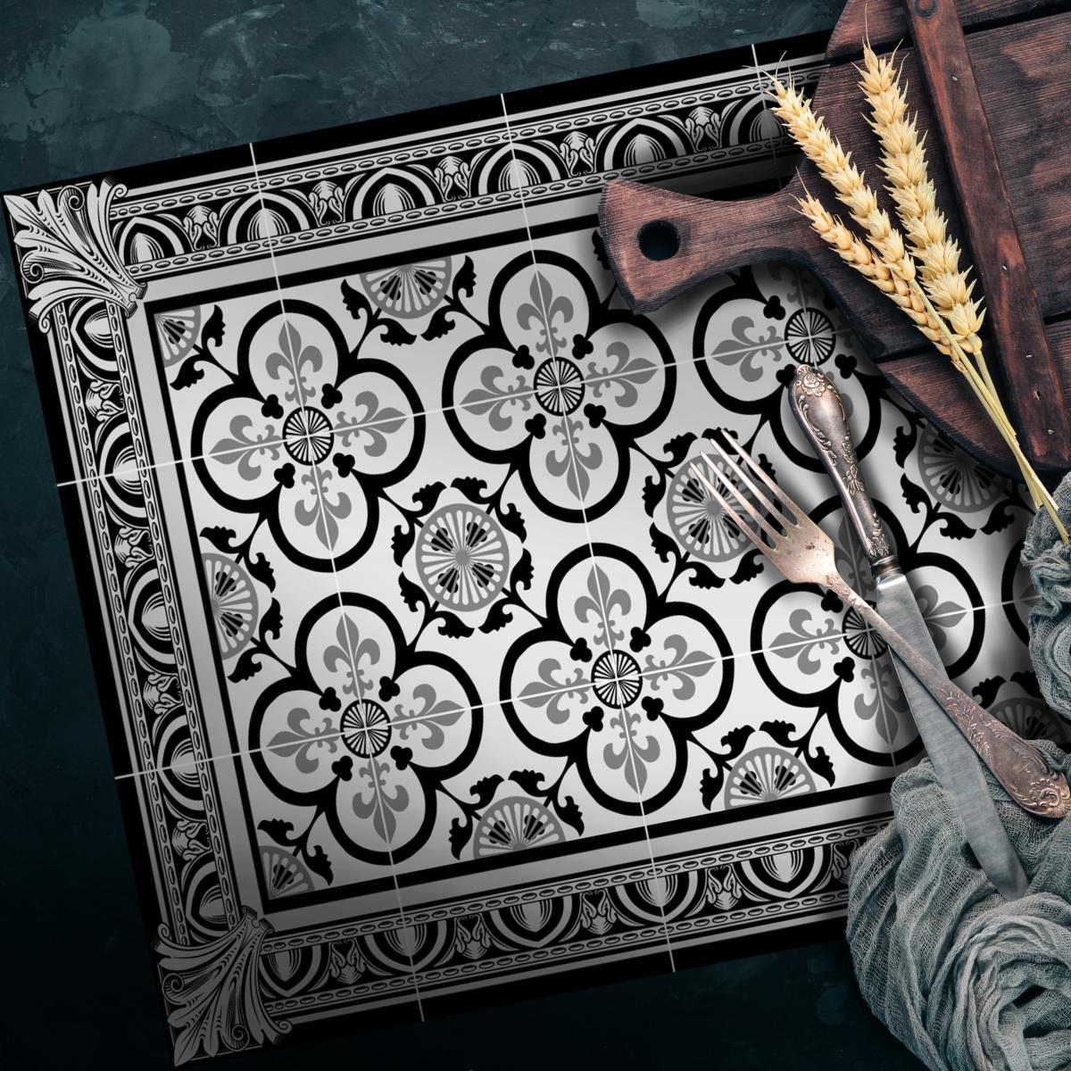 set de table carreaux de ciment garance noir 35x50cm. Black Bedroom Furniture Sets. Home Design Ideas
