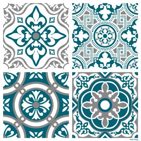 sticker carreaux de ciment madeleine bleu canard. Black Bedroom Furniture Sets. Home Design Ideas