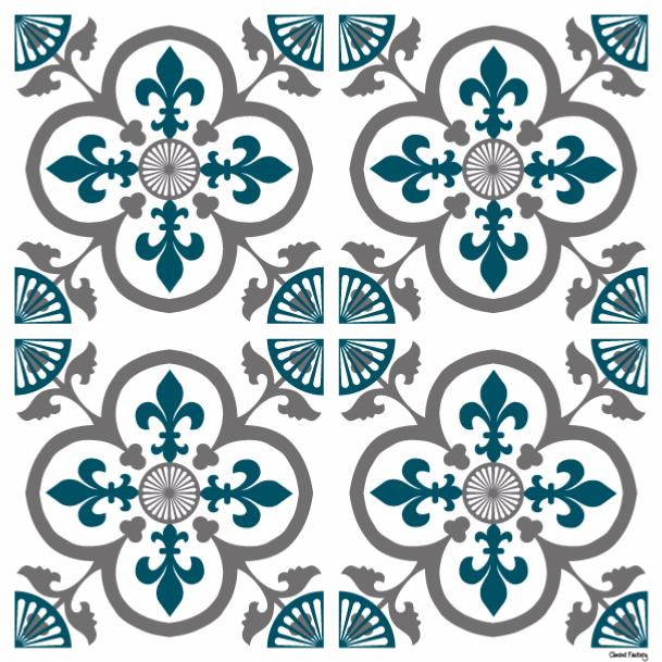Sticker carreaux de ciment garance bleu canard - Stickers carreaux de ciment ...
