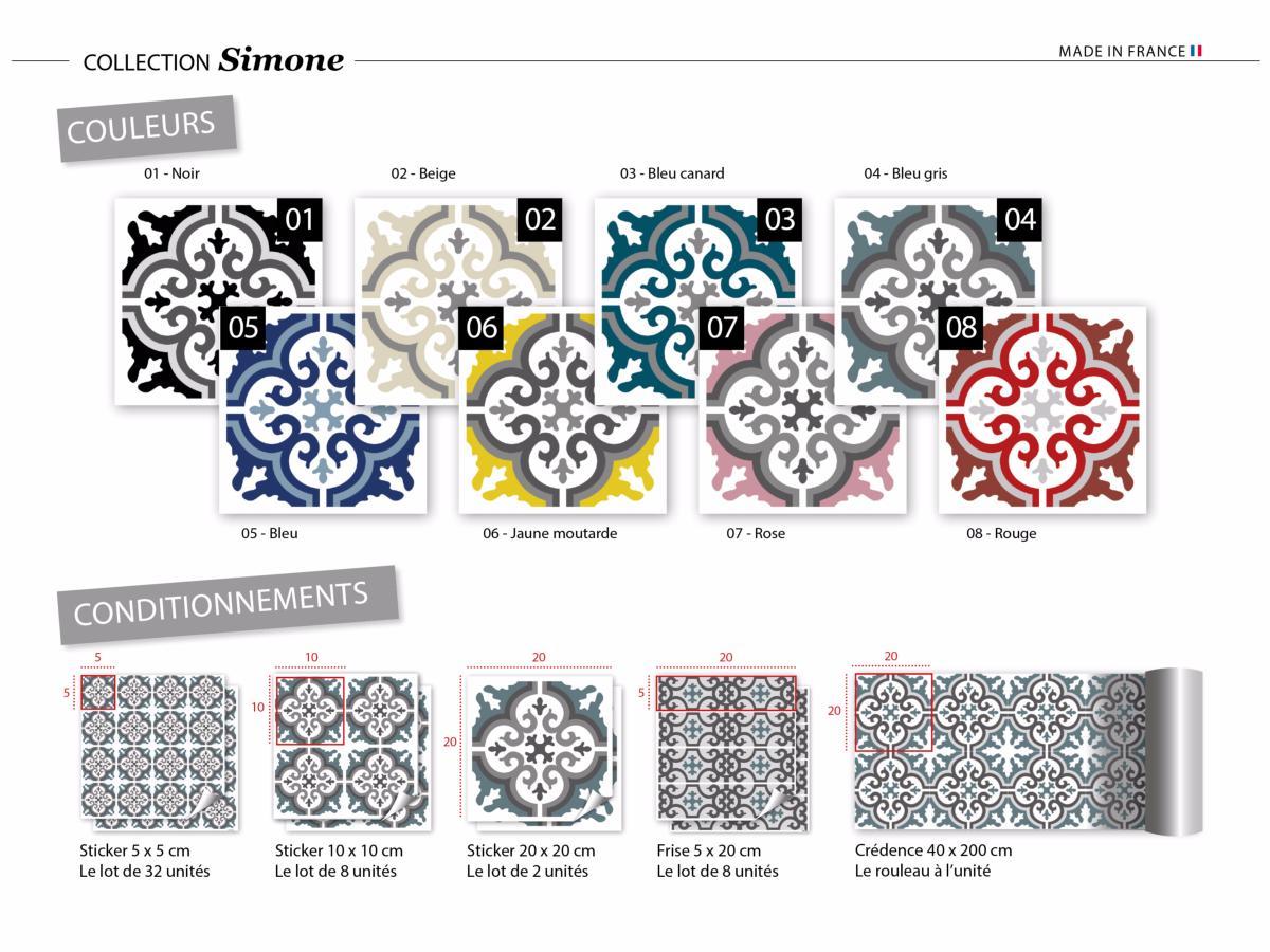 Sticker carreaux de ciment simone bleu canard for Stickers carreaux de ciment 20x20