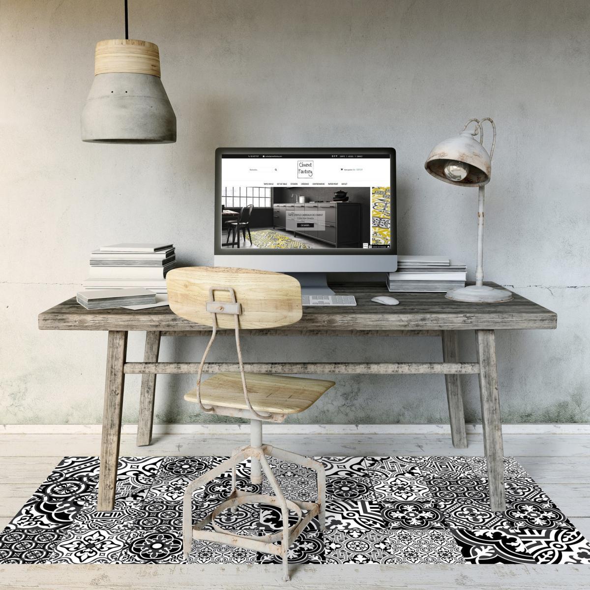 tapis vinyle carreaux de ciment madeleine. Black Bedroom Furniture Sets. Home Design Ideas