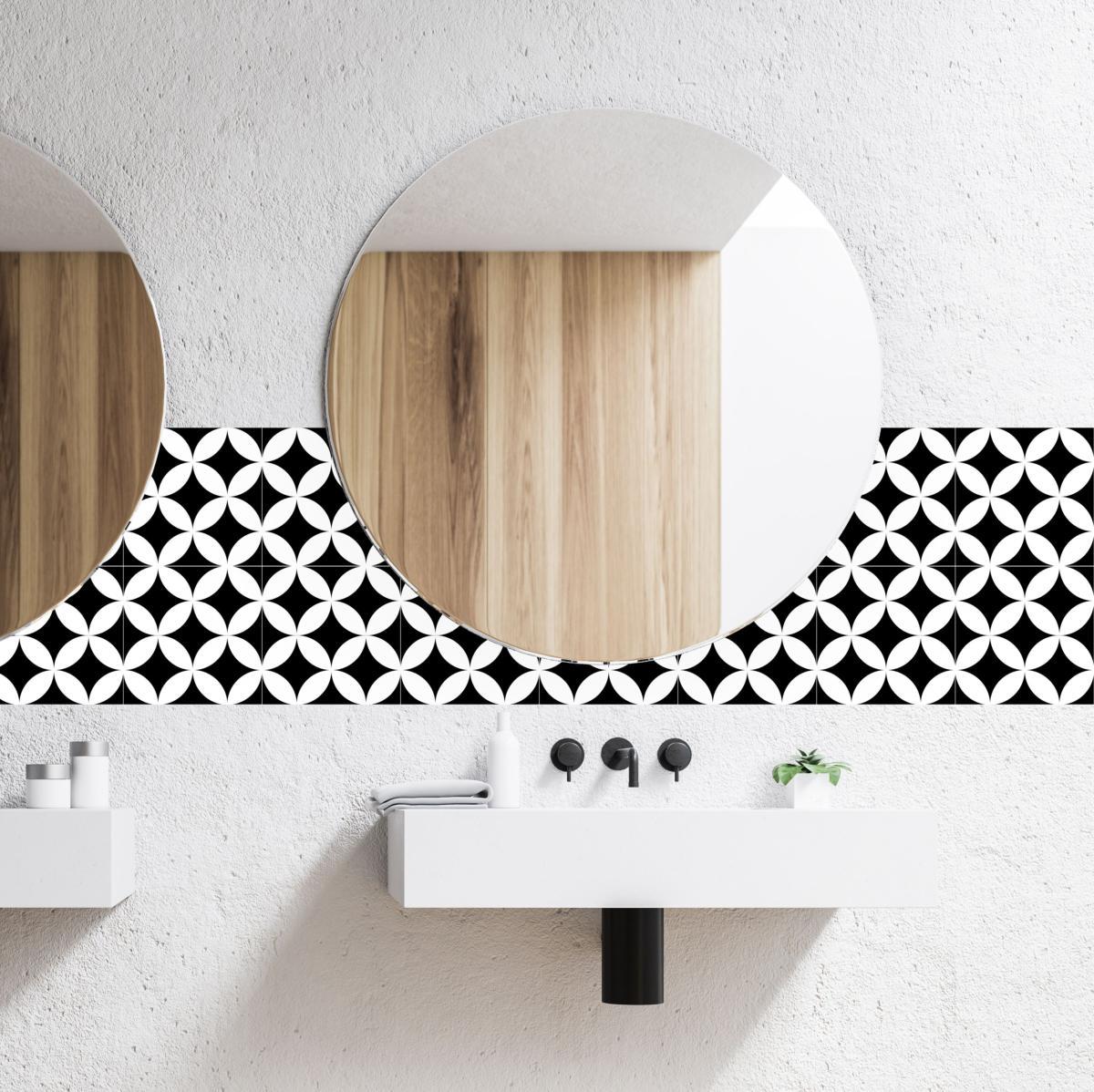 cr dence adh sive carreaux de ciment louison noir. Black Bedroom Furniture Sets. Home Design Ideas