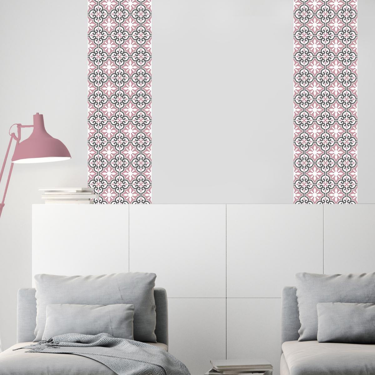 papier peint carreaux de ciment simone rose l. Black Bedroom Furniture Sets. Home Design Ideas