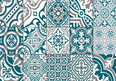 set de table carreaux de ciment madeleine bleu canard. Black Bedroom Furniture Sets. Home Design Ideas