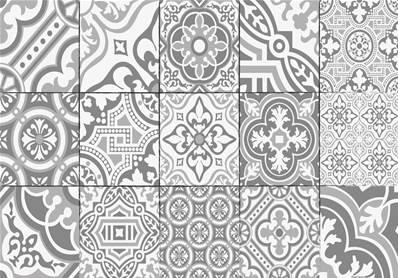 set de table carreaux de ciment madeleine gris tourterelle. Black Bedroom Furniture Sets. Home Design Ideas