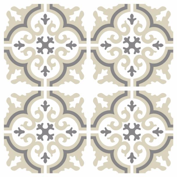 sticker carreaux de ciment simone beige 10x10cm x8. Black Bedroom Furniture Sets. Home Design Ideas