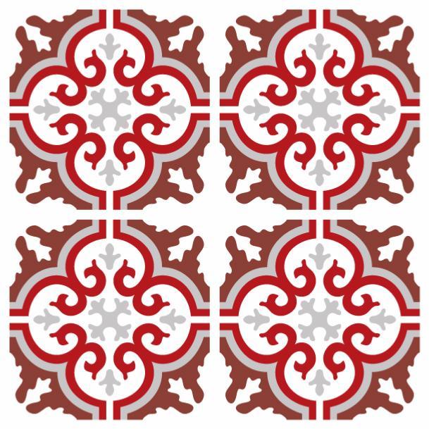 sticker carreaux de ciment simone rouge. Black Bedroom Furniture Sets. Home Design Ideas