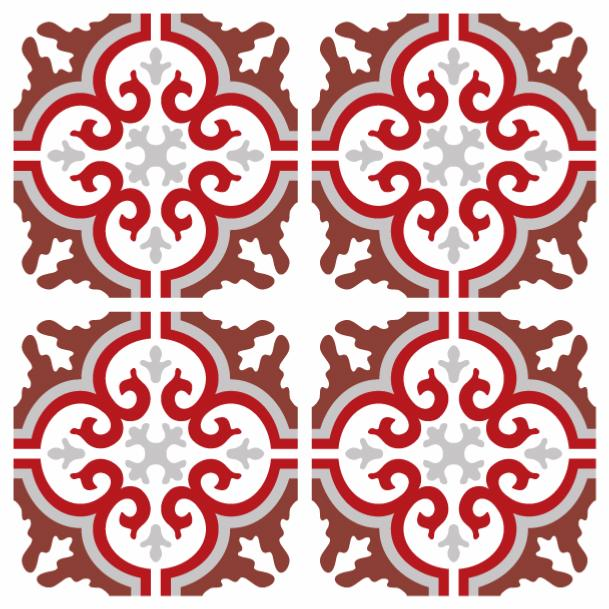 imitation carreaux de ciment rouge stunning nos motifs. Black Bedroom Furniture Sets. Home Design Ideas