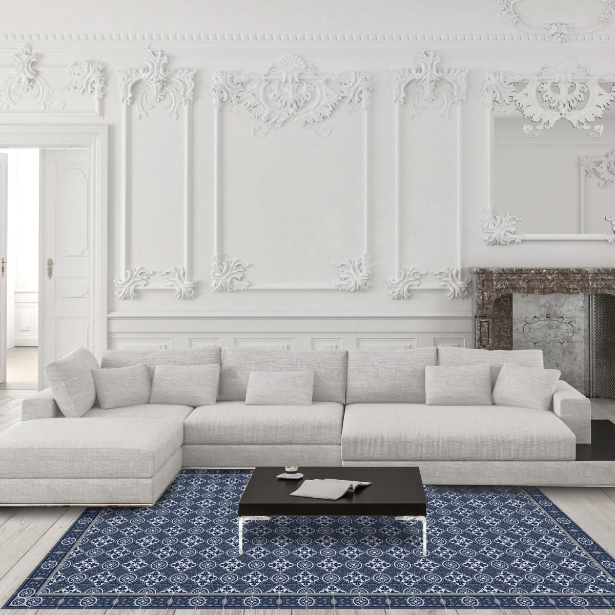 tapis vinyle carreaux de ciment bertille. Black Bedroom Furniture Sets. Home Design Ideas