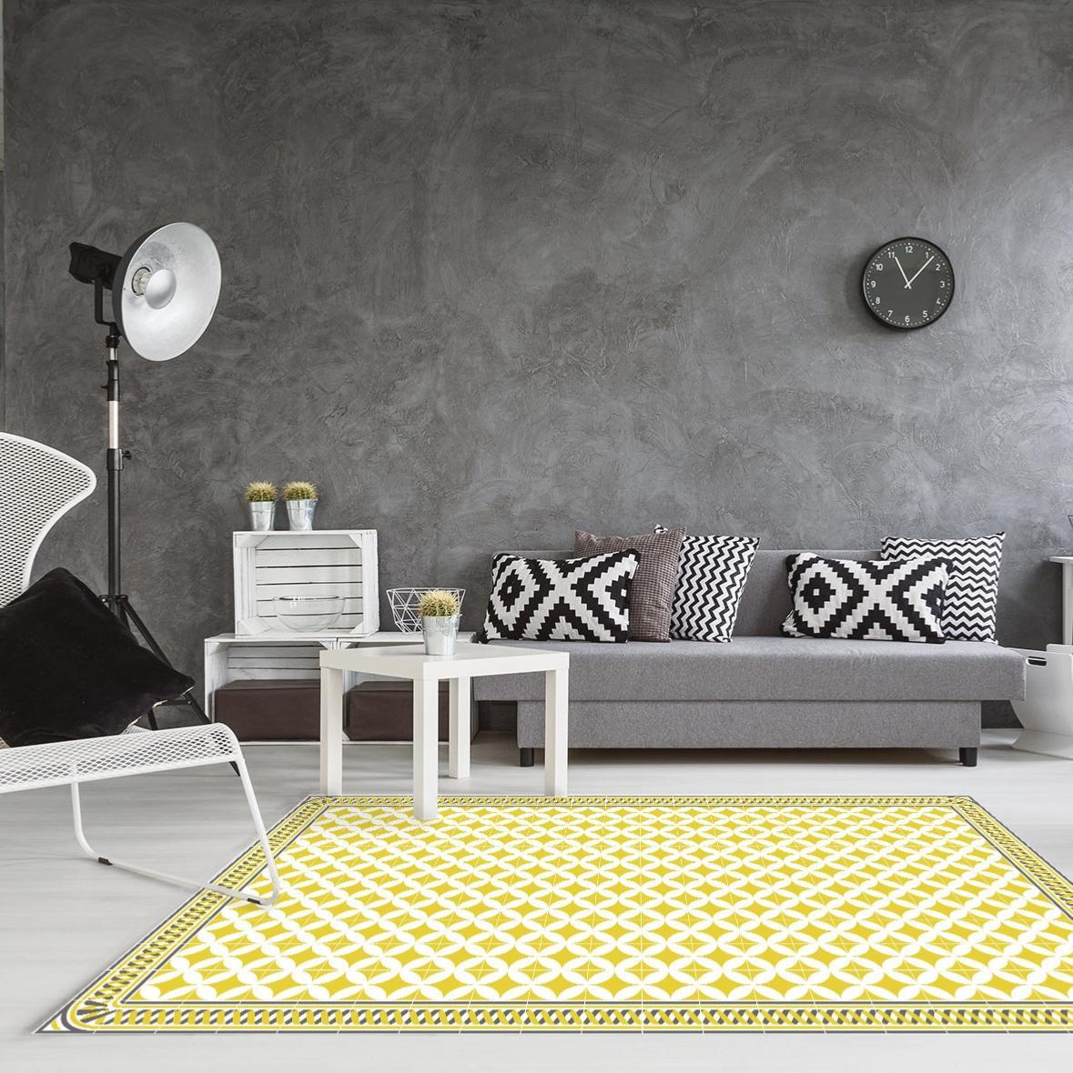 tapis vinyle carreaux de ciment louison jaune moutarde. Black Bedroom Furniture Sets. Home Design Ideas