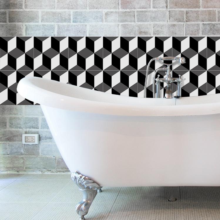 cr dence adh sive carreaux de ciment eug nie noir. Black Bedroom Furniture Sets. Home Design Ideas