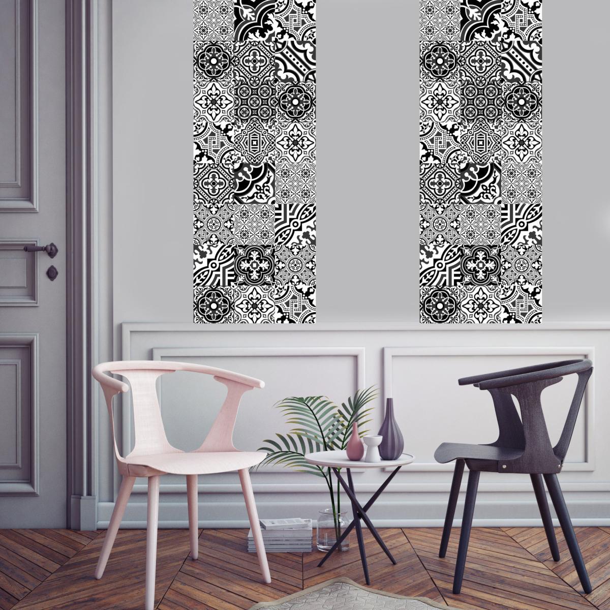 papier peint carreaux de ciment madeleine noir l. Black Bedroom Furniture Sets. Home Design Ideas