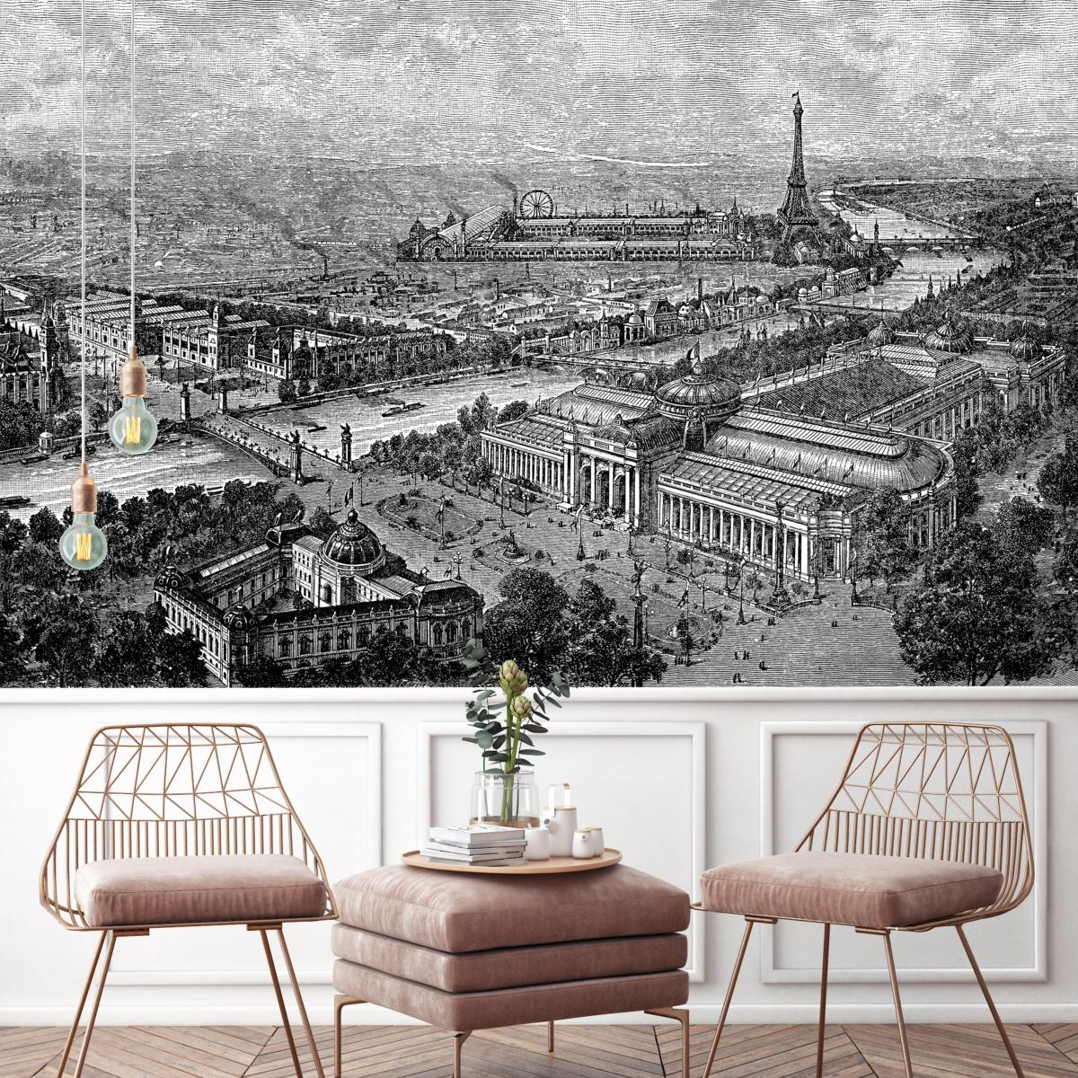 Papier Peint Panoramique Paysage papier peint panoramique gravure - paris 1900
