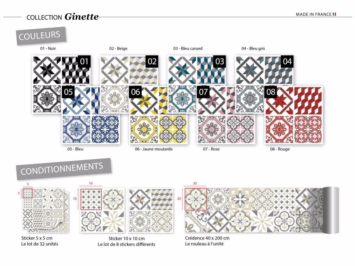 sticker carreaux de ciment ginette beige. Black Bedroom Furniture Sets. Home Design Ideas