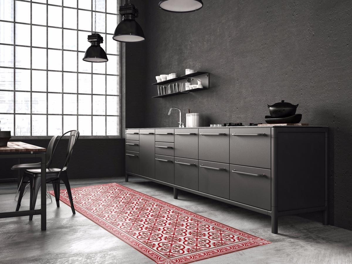 tapis vinyle carreaux de ciment garance rouge. Black Bedroom Furniture Sets. Home Design Ideas