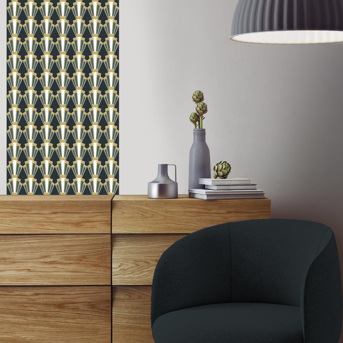 papier peint art d co georges noir chic l unique de. Black Bedroom Furniture Sets. Home Design Ideas