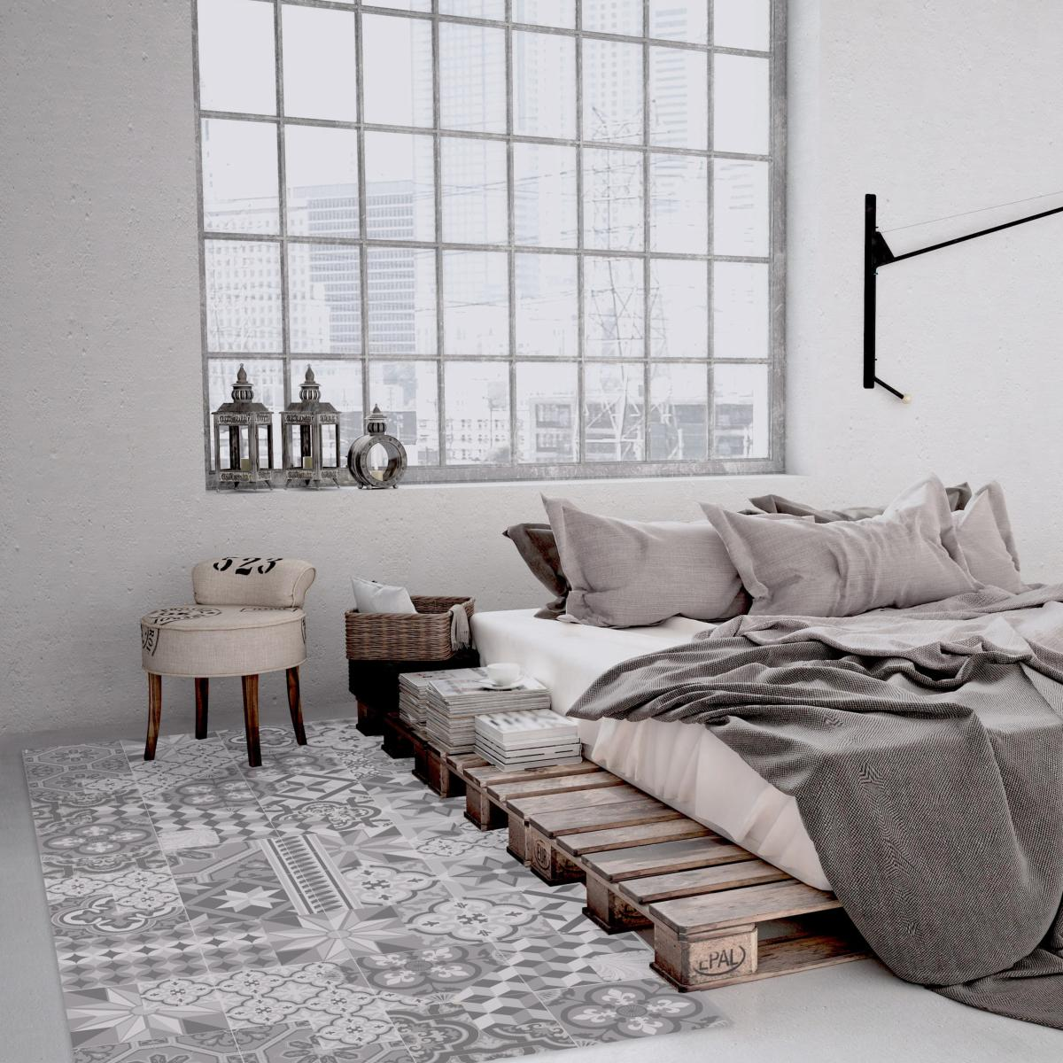 tapis vinyle carreaux de ciment l on gris tourterelle. Black Bedroom Furniture Sets. Home Design Ideas