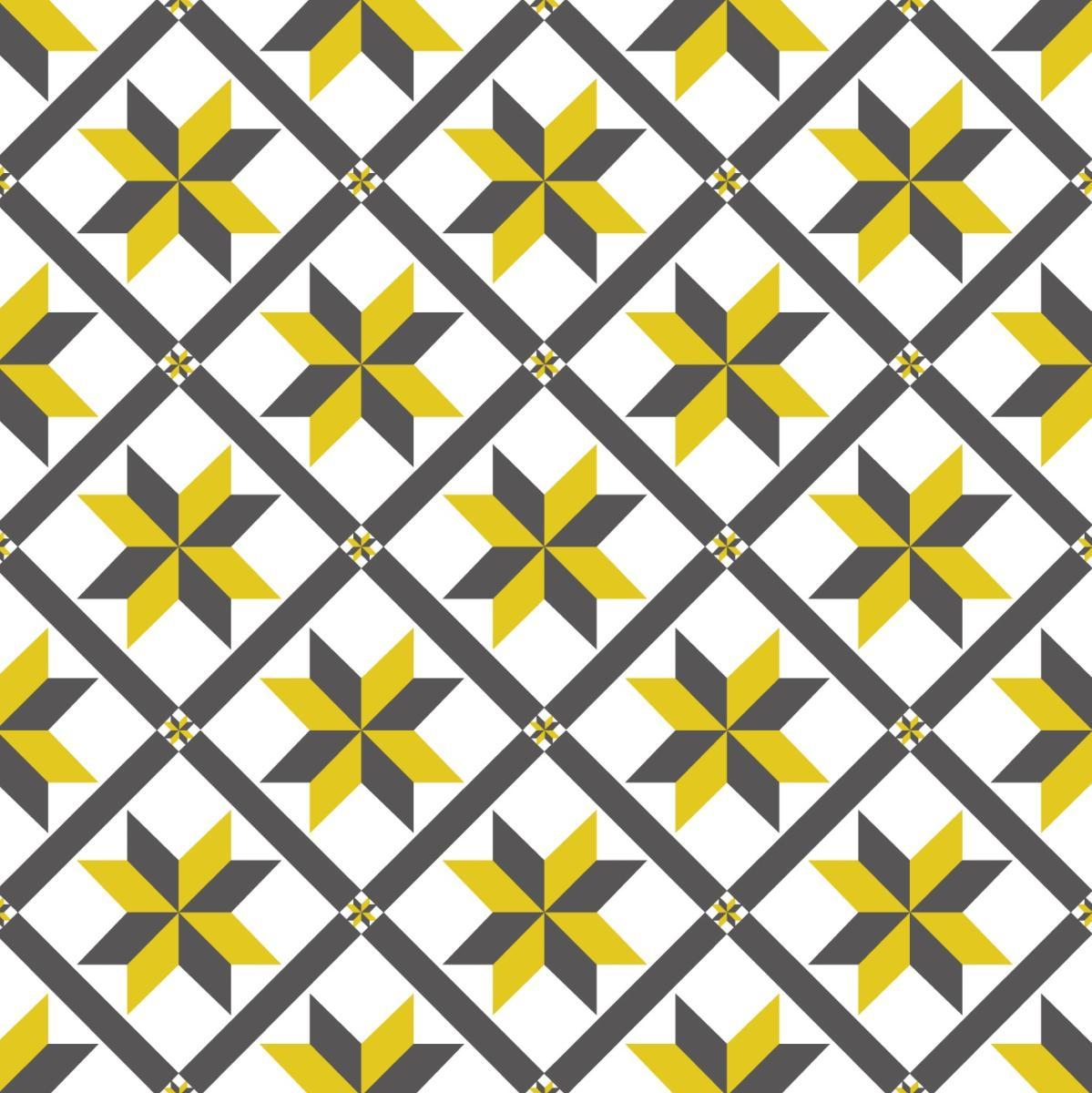 papier peint carreaux de ciment marguerite jaune. Black Bedroom Furniture Sets. Home Design Ideas