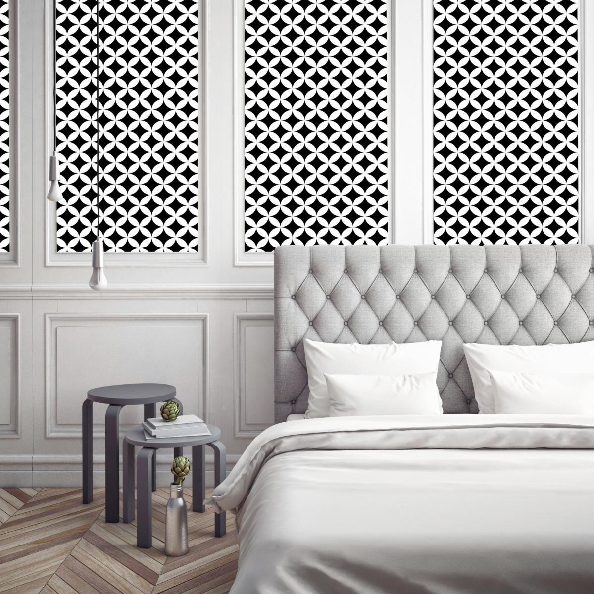 papier peint carreaux de ciment louison noir l. Black Bedroom Furniture Sets. Home Design Ideas
