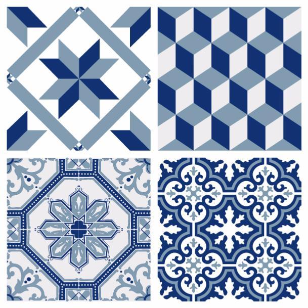 sticker carreaux de ciment ginette bleu. Black Bedroom Furniture Sets. Home Design Ideas