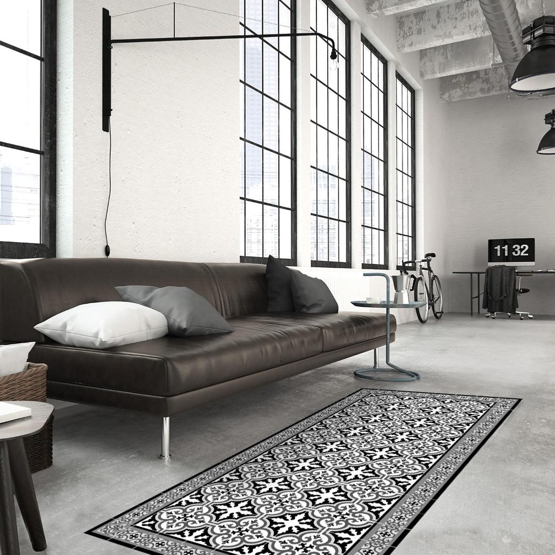 tapis vinyle carreaux de ciment simone noir. Black Bedroom Furniture Sets. Home Design Ideas