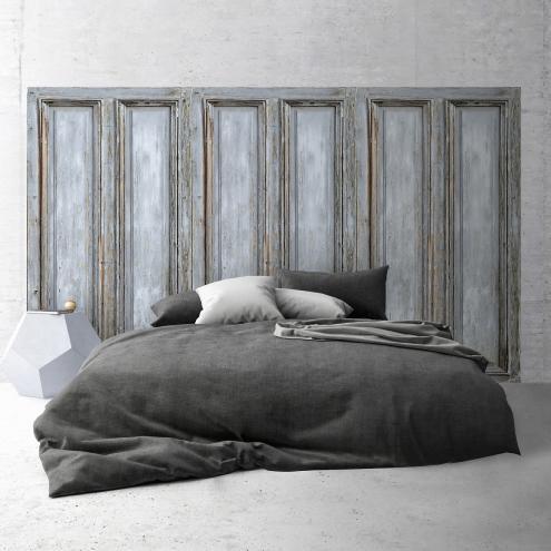 t te de lit effet de mati re panneau en bois gris. Black Bedroom Furniture Sets. Home Design Ideas