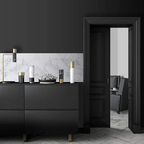 cr dence adh sive effet de mati re marbre blanc. Black Bedroom Furniture Sets. Home Design Ideas