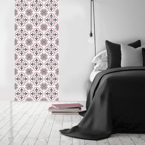 tapis vinyle carreaux de ciment garance rose 60x80cm. Black Bedroom Furniture Sets. Home Design Ideas
