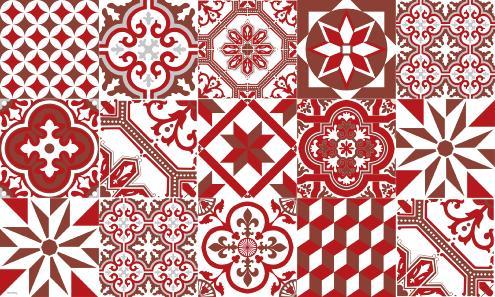 tapis vinyle carreaux de ciment ginette rouge. Black Bedroom Furniture Sets. Home Design Ideas