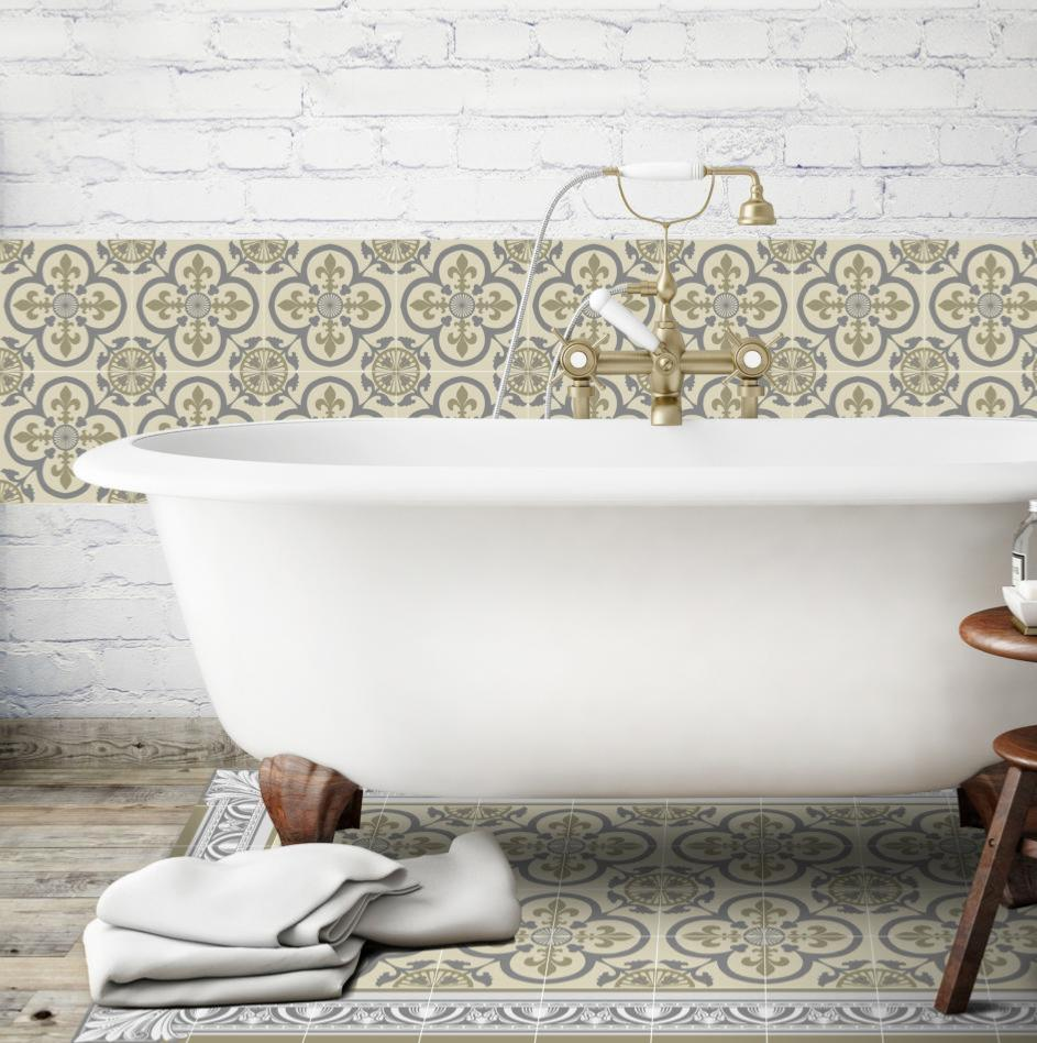 cr dence adh sive carreaux de ciment garance beige. Black Bedroom Furniture Sets. Home Design Ideas