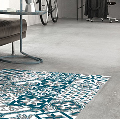 Les collections Ciment Factory de tapis vinyles façon carreau de ciment